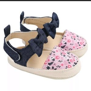 NWT-Baby Girl's Floral Bowknot Soft Sole Shoes